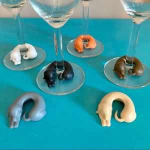 Set of 6 Rubber Dachshund Wine Glass Markers